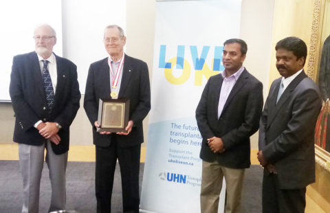 Prof. James Till after the 2018 Edogawa NICHE Prize Ceremony with Prof. Levy, Prof. Humar & Dr. Abraham (Photo: Business Wire)
