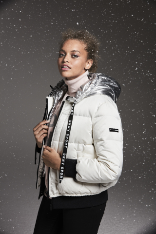 Cold weather essentials make the perfect gift from Macy's this holiday season; DKNY bold logo puffer ...