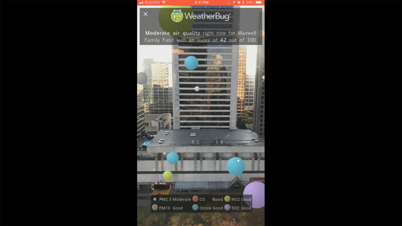 Example of new WeatherBug Augmented Reality feature that shows how the air particles around you look like.