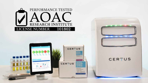 The CERTUS System for accurate and rapid pathogen detection has achieved AOAC Performance Tested℠ certification (101802). (Photo: Business Wire)