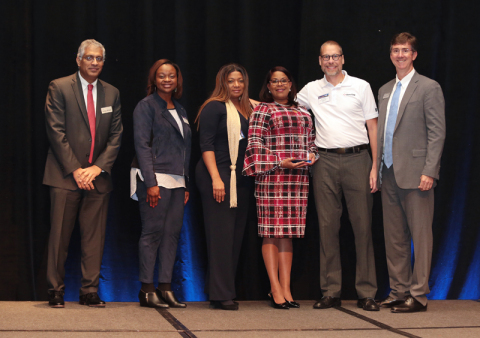 FHLB Dallas awarded Bank OZK with the 2018 CARE Award for its commitment to community investment at the FHLB Dallas Annual Conference last week. From left: Sanjay Bhasin, president and CEO, FHLB Dallas; Amanda Hooks, CRA analyst II, Bank OZK; Penny King, community development officer, Bank OZK; Angela Hudson, director of Community Responsibility, Bank OZK; Eric Gustafson, CRA and community development investment officer, Bank OZK; and Greg Hettrick, first vice president, director of Community Investment, FHLB Dallas.  (Photo: Business Wire)