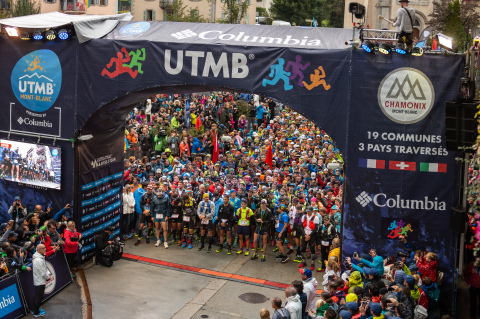 The starting line of the 2018 UTMB in Chamonix, sponsored by Columbia Sportswear  (Photo: Business W ...