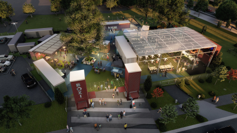 Rendering of Boxi Park, Central Florida's first outdoor entertainment venue to be built with repurposed shipping containers. (Photo: Business Wire)
