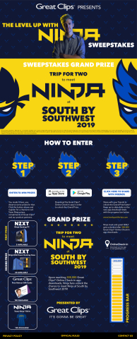 """Great Clips partners with Tyler """"Ninja"""" Blevins for """"Level Up with Ninja Sweepstakes."""" (Graphic: Great Clips)"""