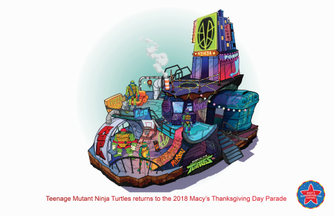 Nickelodeon's all-new Rise of the Teenage Mutant Ninja Turtles float will debut at the 92nd Annual Macy's Thanksgiving Day Parade®.