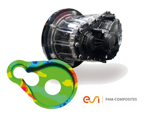 Thermoformed automotive gearbox simulated with ESI's composites manufacturing simulation solution, ( ...