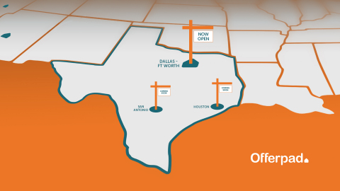 Offerpad provides on-demand real estate services to Texans in Dallas, and soon Houston and San Antonio residents. (Graphic: Business Wire)