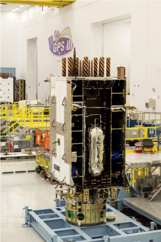Lockheed Martin's fourth GPS III satellite, GPS III SV04, (pictured here) is a fully integrated space vehicle and now in environmental testing. Harris is providing the navigation technology that sends the signals from GPS III SV1-10. (Photo: Business Wire)