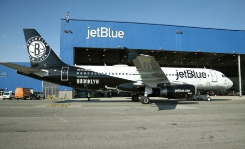 Nothing But Net: JetBlue, New York's Hometown Airline®, Teams Up with the Brooklyn Nets for its Newest Special Livery (Photo: Business Wire)