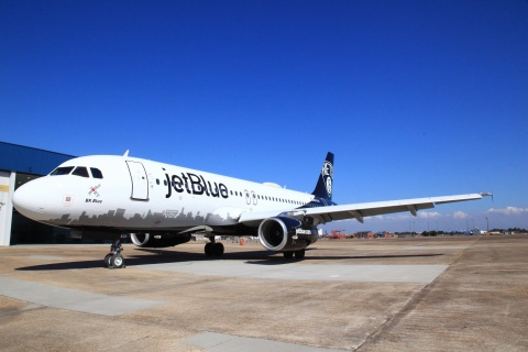 "JetBlue (NASDAQ:JBLU), New York's Hometown Airline®, today revealed its latest special livery dedicated to the Brooklyn Nets. ""BK Blue"" joins JetBlue's legion of New York-themed aircraft. (Photo: Business Wire)"