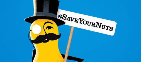 Mr. Peanut wants men nationwide to not only grow a moustache, but also to #SaveYourNuts. (Graphic: B ...