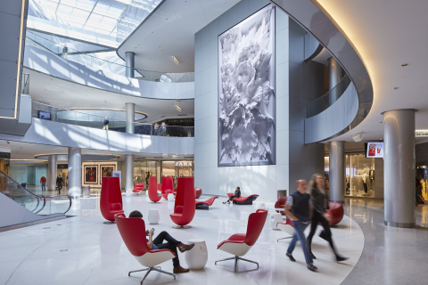 Beverly Center's new Grand Court features a 35 ft. tall, vertical LED screen with a permanent installation by well-known media artist, designer and spatial thinker Refik Anadol. Photo Credit: Jeremy Samuelson