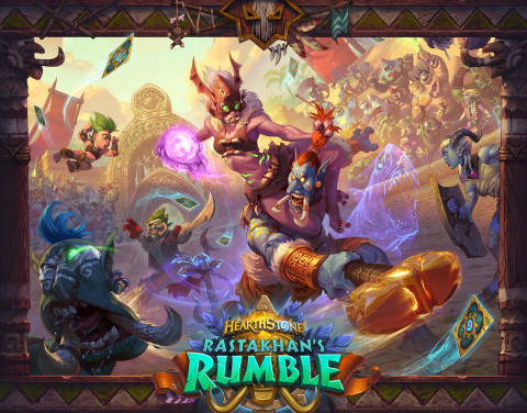 Face Azeroth's mightiest troll gladiators with an arsenal of 135 new cards in Rastakhan's Rumble™, the next expansion for Hearthstone®, Blizzard Entertainment's smash-hit digital card game that recently hit the 100 million-player mark. (Graphic: Business Wire)