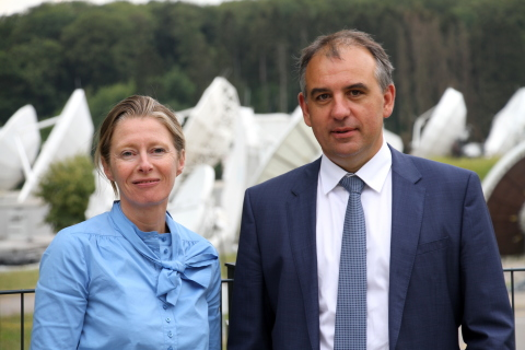 Corinne Mailles Deputy General Manager of Telespazio France & Patrick Biewer, CEO of GovSat (Photo: Business Wire)