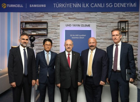 Turkcell has performed the first live 5G trial in Turkey. From left, Turkcell CTO Gediz Sezgin, Pres ...