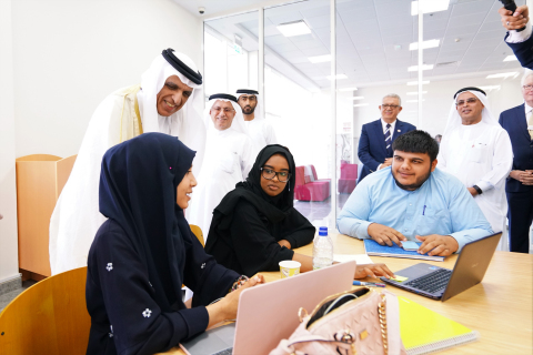 His Highness Sheikh Saud Bin Saqr Al Qasimi greets students during the Grand Opening of the new RAKBANK Building of the American University of Ras Al Khaimah (AURAK) (Photo: AETOSWire)