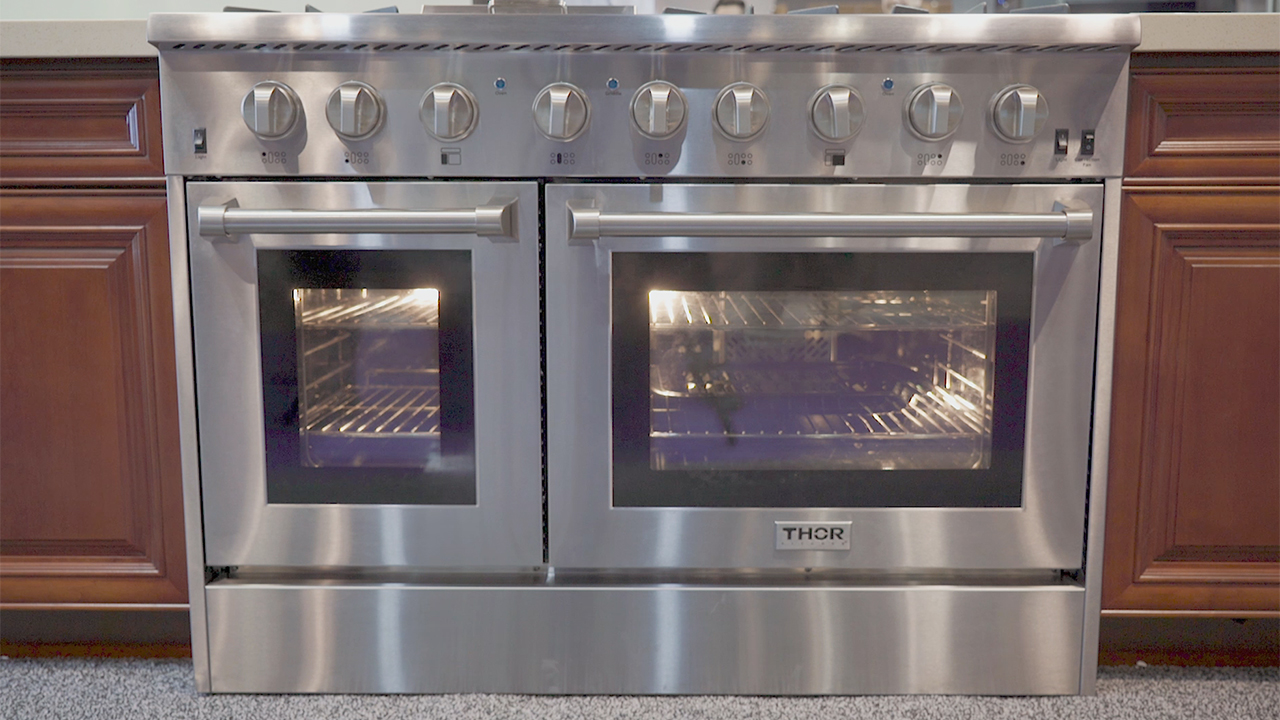 THOR's professional-style 48-inch Dual Fuel Range has a manufacturer's suggested retail price (MSRP) of $4,699, the most affordable on the market.