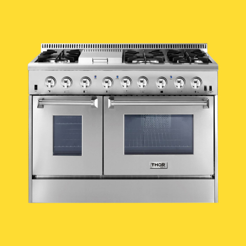The new 48-inch Dual Fuel Range features heavy-duty continuous cast-iron cooking grates, a black porcelain drip pan on the cook top and high-end infrared broiler. (Photo: Business Wire)
