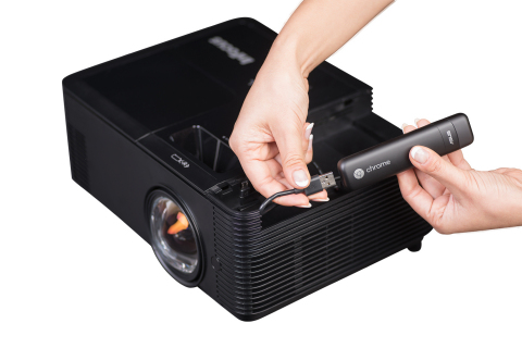 InFocus IN138HDST Series Projector with Google Chromecast inserted into the TechStation bay (Photo:  ...