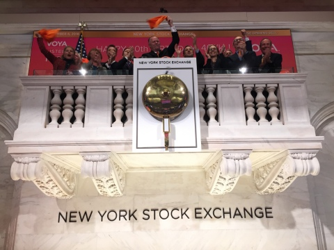 """In honor of the 401(k) milestone """"Birthday"""" occasion, Voya leaders gathered at the New York Stock Exchange for the opening bell-ringing on Nov. 6, 2018. (Photo: Business Wire)"""