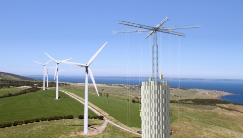 Energy Vault storage tower co-located with wind farm (Photo: Business Wire)