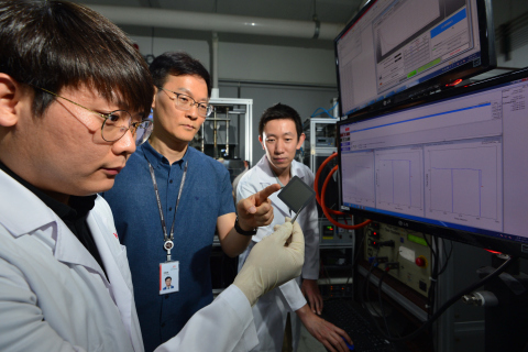 KIST researchers conducting a test to check PCFC performance ratings. (Photo: Business Wire)