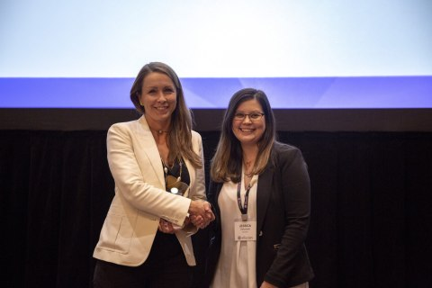 "Angela Selden, CEO of DIGARC (Left) accepting the Ellucian ""Integration Partner of the Year"" award at the EDUCAUSE annual conference in Denver. (Photo: Business Wire)"