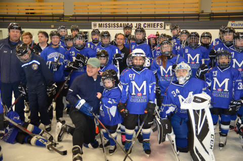 Toronto Maple Leafs defenceman Morgan Rielly with Mississauga Crusaders Special Hockey Club (Photo: ...