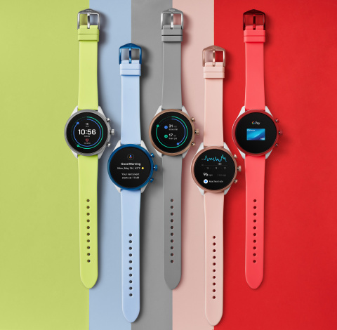 The ultra-light Fossil Sport boasts the new Qualcomm® Snapdragon Wear™ 3100 Platform and is powered with Wear OS by Google in six vibrant colorways and endless strap options. (Photo: Business Wire)