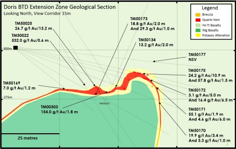Figure 2: Doris BTD Extension - Geological Section, Looking North (Photo: Business Wire)