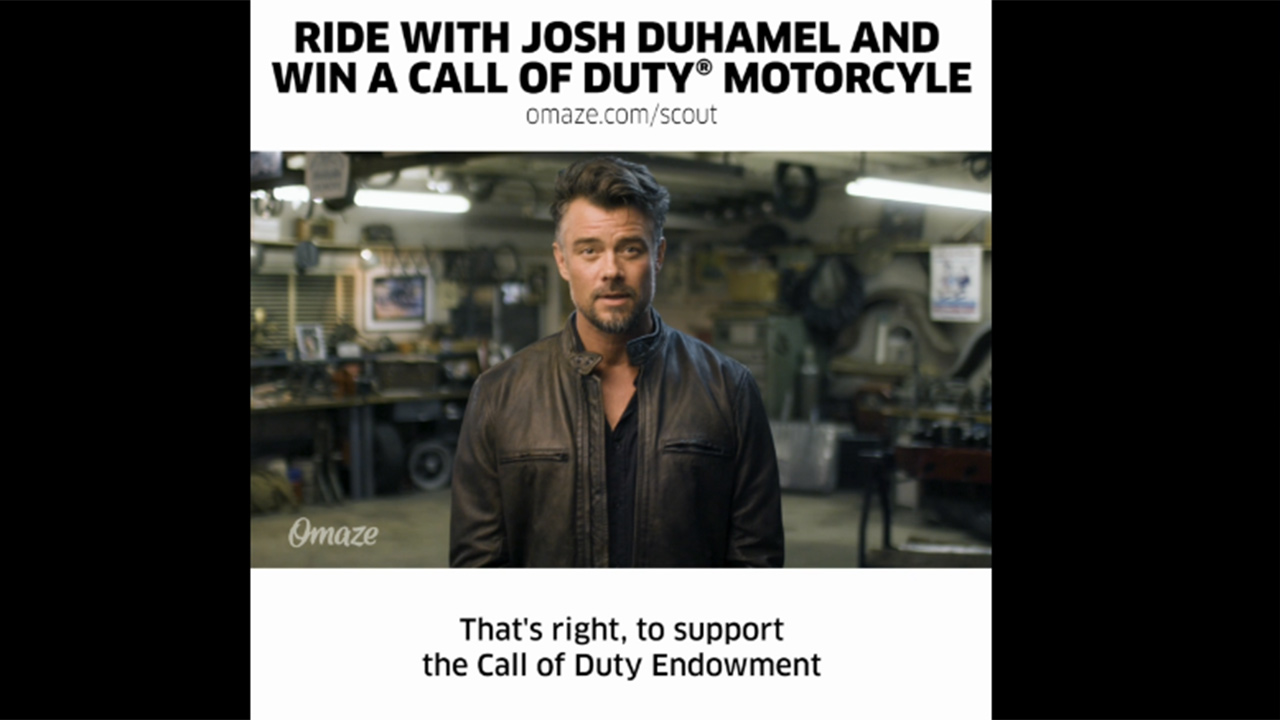 Proceeds from the contest, sponsored by Omaze, will support the Call of Duty Endowment's fight to secure high-quality employment for veterans. The winner will receive an all-expense paid trip to Los Angeles where they will pick-up their Call of Duty® Indian Scout 741B motorcycle and participate in an exclusive ride with Josh Duhamel.