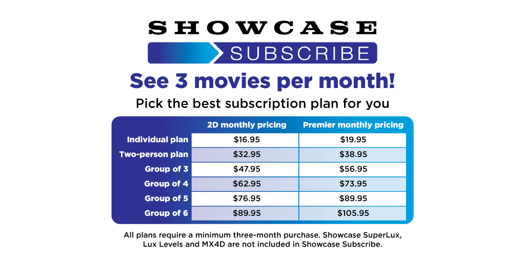 Showcase Cinemas Launches Showcase Subscribe - the Ultimate Movie