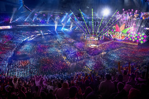 Aerial shot of WrestleMania 34 at the Mercedes-Benz Superdome in New Orleans (Photo: Business Wire)