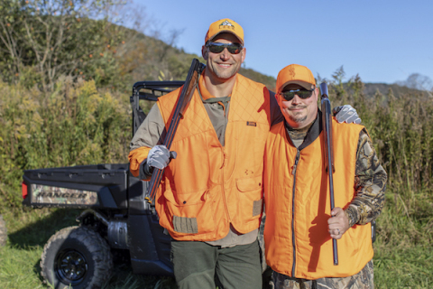 Joe Thomas getting ready to head out on a pheasant hunt with veterans during the Heroes Hunt at LEEK Hunting & Mountain Preserve in partnership with Polaris RANGER. (Photo: Business Wire)