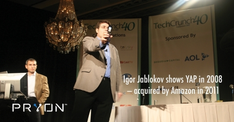 Igor Jablokov, CEO and founder of Pryon, shows Yap's cloud platform for speech recognition - precursor to Amazon Alexa - at inaugural TechCrunch event. (Photo: Business Wire)
