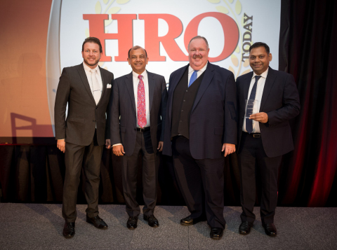 From left to right Zachary Misko, President, HRO Today Member Services; Ragu Bhargava, Co-Founder and CEO, Global Upside; Elliot Clark, CEO, SharedExpertise Media; and Rohit Lohia, Managing Director, India, Global Upside. (Photo: Business Wire)