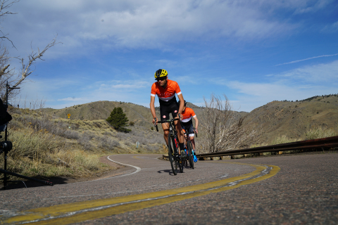 SOLOS Athlete and retired road racing cyclist, Phil Gaimon, training with SOLOS Smart Glasses. (Phot ...