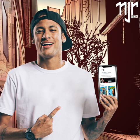 International star athlete Neymar Jr. points out the new mobile app for Neymar Jr. Comics. (Photo: Business Wire)