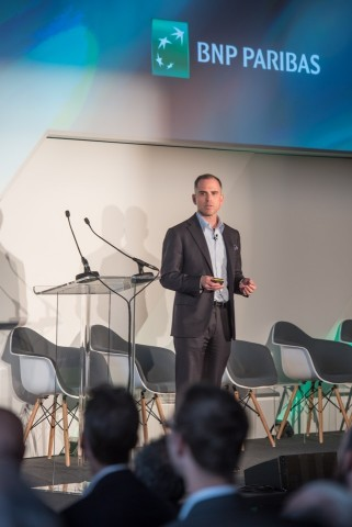 Ari Rubenstein, CEO of GTS, announcing on November 15, 2018, a new equities trading partnership with BNP Paribas at their annual flagship Global Markets conference in London. (Photo: Business Wire)