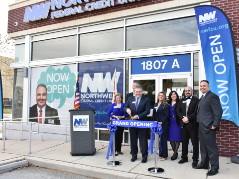 Photographed: Georgette Godwin, President & CEO of Montgomery County Chamber of Commerce, Tom Conroy, Chair of Northwest Federal Board of Directors, and Jeff Bentley, President & CEO of Northwest Federal Credit Union, pictured with the Rockville Branch team. (Photo: Business Wire)
