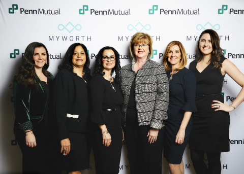From left to right: Meghan Haley, head of innovation and operations at myWorth Evelyn Gellar, LUTCF, RICP®, head of strategic partnerships at myWorth Ande Frazier CFP®, CLU, ChFC, RICP, BFATM, head of vision and brand at myWorth Eileen McDonnell, chairman and CEO of Penn Mutual Holly Reimel, head of adviser engagement at myWorth Meredith Morris, head of digital strategy at myWorth (Photo: Business Wire)