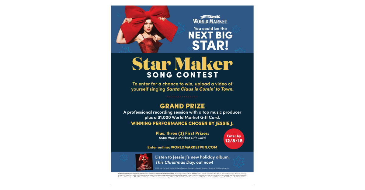 Jessie J This Christmas Day.Cost Plus World Market Launches Its Star Maker Song Contest