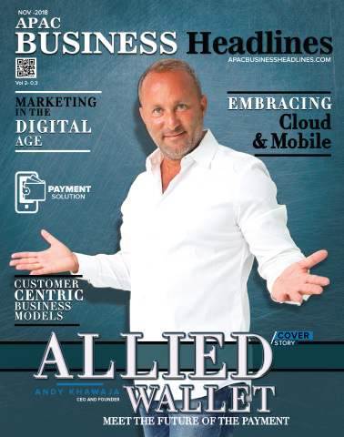 Dr. Andy Khawaja on the cover of APAC Business Headlines representing Allied Wallet as one of the