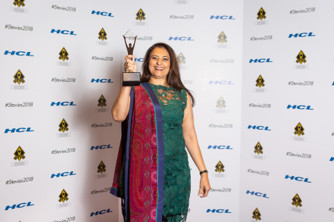 Global Upside Co-Founder and COO Gita Bhargava with her award at the New York City Gala (Photo: Business Wire)
