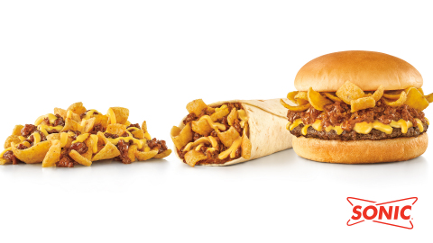 SONIC's new FRITOS Chili Cheese Faves: FRITOS Chili Pie, FRITOS Chili Cheese Jr. Wrap and FRITOS Chili Cheese Jr. Burger (Photo: Business Wire)