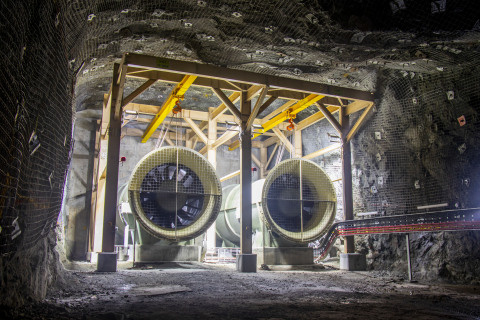 Underground ventilation fans at Newmont's Subika mine in Ghana (Photo: Business Wire)