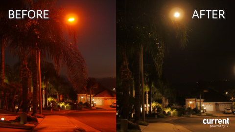 Before and after photo of improved light quality, in addition to resulting energy savings. (Photo: Business Wire)