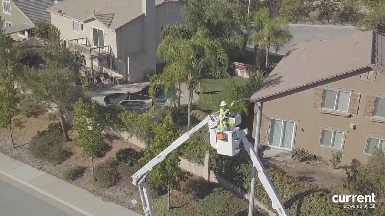 BRoll footage of energy saving Current by GE LED light installation in Murrieta, CA.