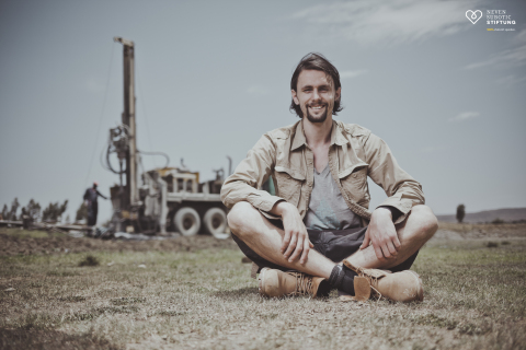 Neven Subotic on site at a water well drilling project in Ethiopia (Photo: Business Wire)