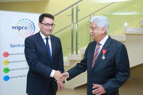 Azim Premji, Chairman of Wipro Limited receiving Chevalier de la Légion d'Honneur (Knight of the Leg ...